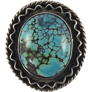 Navajo Indian Silver Ring Blue Moon Turquoise