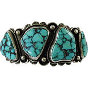 Morenci Turquoise Navajo Indian Silver Cuff Bracelet