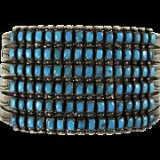 Vintage Zuni Indian Bracelet 6 Rows Turquoise Squares