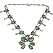 Green Turquoise Navajo Indian  Silver Squash Blossom Necklace