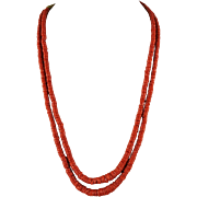 Mediterranean Coral Two Strand Necklace