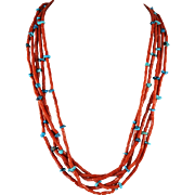 5 Strands Mediterranean Coral and Turquoise Nugget Necklace