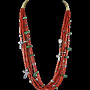 7 Strands of Coral Treasure Necklace