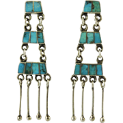 Vintage Zuni Indian Turquoise and Silver Dangle Earrings