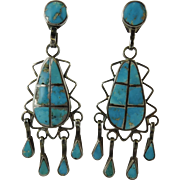 Vintage Zuni Indian Turquoise Inlay Silver Dangle earrings