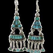 Vintage Zuni Indian Turquoise Raincloud Silver Dangle Earrings