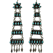 Vintage Zuni Indian Turquoise and Silver Chandelier Earrings