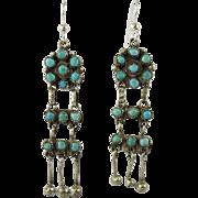 Vintage Zuni Indian Dainty Turquoise Dangling Earrings
