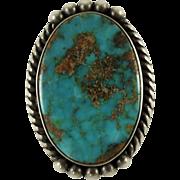 Vintage Navajo Indian Ring Blue Gem Turquoise