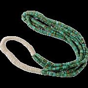 Vintage Blue Gem Turquoise 3 Strand Necklace Santo Domingo Pueblo Indian