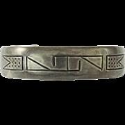Vintage Hopi Hand Made Silver Cuff Bracelet