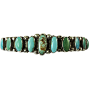 Vintage Navajo Indian Turquoise and Silver Cuff Bracelet