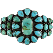 Vintage Navajo Indian Turquoise Cluster Silver Bracelet with Hearts