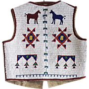 Antique Plains Indian Lakota Beaded Vest with Horses