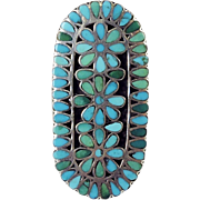 Vintage Zuni Inlay Turquoise in Silver Statement Ring