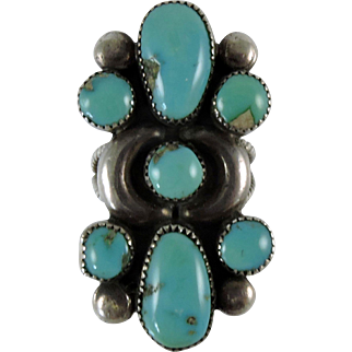 Vintage Turquoise Silver Ring by Fannie W Ondelacy