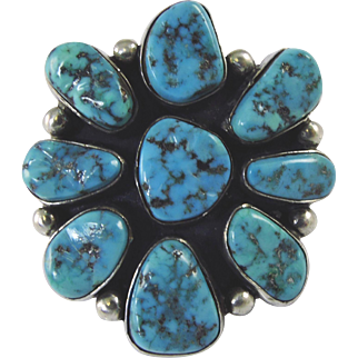 Vintage Natural Turquoise Cluster Navajo Silver Ring