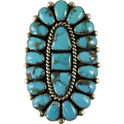 Vintage Zuni Indian Castle Dome Turquoise Cluster Silver Ring