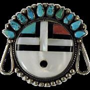 Vintage Zuni Indian Sun Face Pin