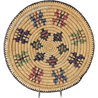 Vintage Navajo Indian Sumac Butterfly Basket