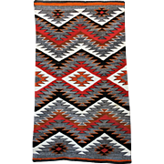 Vintage Navajo Rug Red Mesa Outline