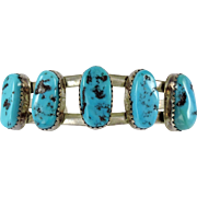 Kingman Turquoise Navajo Silver Cuff Bracelet for a Small Wrist