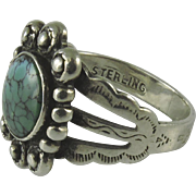 Vintage Navajo Silver and Turquoise Ring
