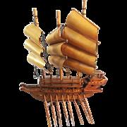 Wooden Galleon Ship Sculpture
