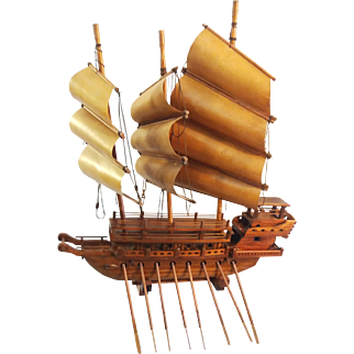 Wooden Galleon Ship Sculpture