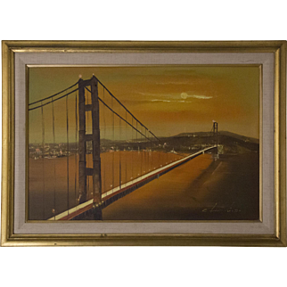 Mid-Century Impressionist Painting of Golden Gate Bridge by E. Leonard Jr.