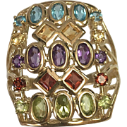 10 K Yellow Gold Elongated Multi Gemstone Ring