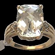 10 K Yellow Gold 6.00 Carat Octagon Cut Faux Diamond Ring