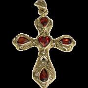 10 K Yellow Gold Heart Garnet Cross Pendant