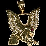 10 K Yellow Gold Simulated Diamond & Ruby Large Eagle Pendant