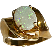 Modernist 10 K Yellow Gold 1.65 Carat Oval Opal Ring