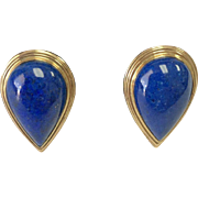 14k Yellow Gold Pear Shape Lapis Lazuli Lever Back Earrings