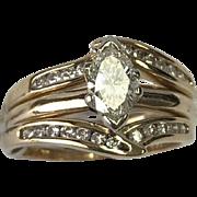 14K Yellow Gold 0.73 Carat Marquise Diamond Wedding Ring