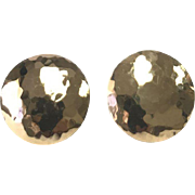 14 K Yellow Gold Hammered Pierced Button Earrings