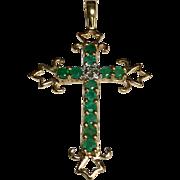 14 K Yellow Gold Emerald & Diamond Cross