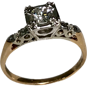 Art Deco 14 K Yellow & White Gold 0.46 Carat Old European Diamond Engagement Ring, Comes With IGI Cert