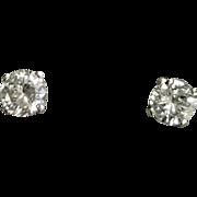 14 K White Gold 0.72 CTW Round Diamond Stud Earrings, Comes With IGI