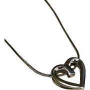 14 K White/Yellow Gold Reversible Heart Slide Necklace