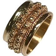 14 K Yellow Gold 11 mm Wide Beaded Wedding Band