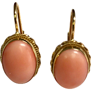 14 K Yellow Gold Angel Skin Coral Lever Back Earrings