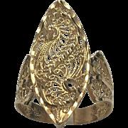 14 K Yellow Gold Elongated Filigree Ring