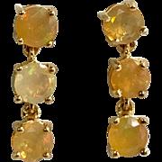14 K Yellow Gold Pierced Post Dangle Mexican Jelly Opal Earrings
