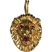 14 K Yellow Gold 3 Dimensional Ruby Lions Head Pendant