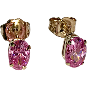 10 K Yellow Gold Pierced Pink Topaz 0.50 ctw Solitaire Earrings.