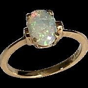 Vintage 14 K Yellow Gold 0.47 Carat Oval Fiery Opal