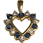 14 K Yellow Gold Sapphire & Diamond Heart Pendant/Charm